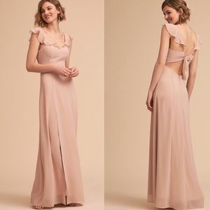 Anthropologie BHLDN Diana Dress Nude Maxi